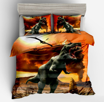Hot sell3d dinosaur print Cartoon style Animal series yellow bedlinens bedding sets twin full queen size duvet cover pillow case