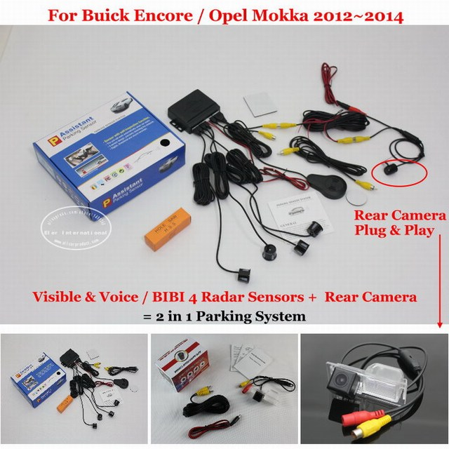 For Buick Encore / Opel Mokka - Car Parking Sensors + Rear View Back Up Camera = 2 in 1 Visual / BIBI Alarm Parking System