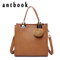 Antbook New Design Women Handbags High Quality Pu Leather Women Shoulder Bag Vintage Solid Hairball Girl