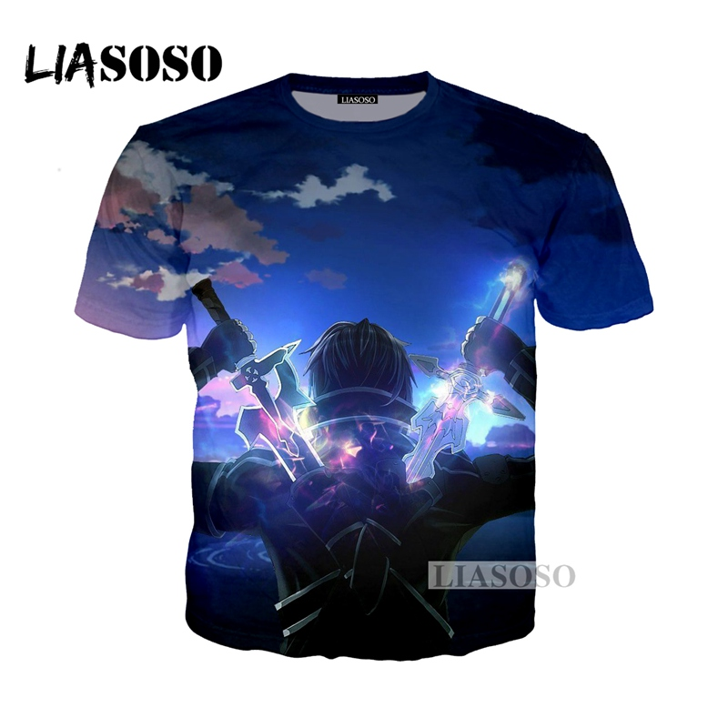 LIASOSO NEW Anime Sword Art Online Tees 3D Print T-shirt/Hoodie/Sweatshirt Unisex Cosplay Sexy katana kirito T Shirt Tops G338