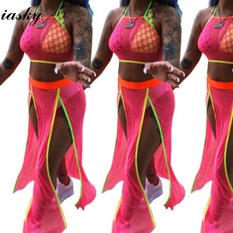 5b4d0ab291 IASKY sexy see through beach cover up 2018 new mesh top+ skirts bikini  swimsuit cover ups
