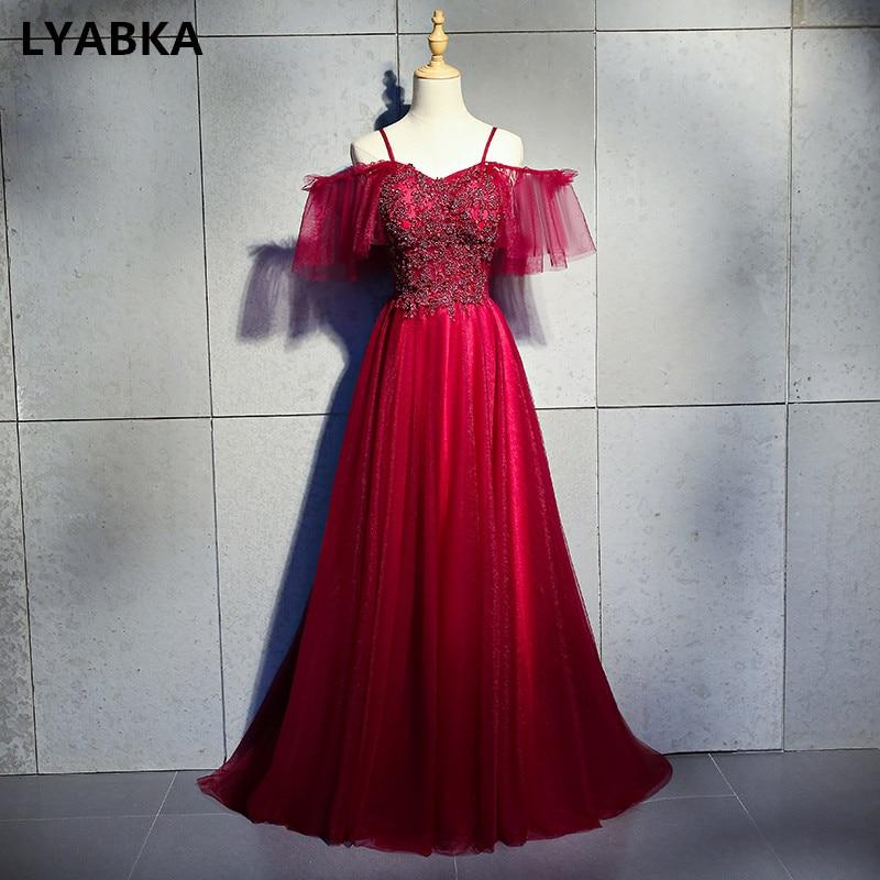 Burgundy Evening Dress Abendkleider 2019 Design A line ...