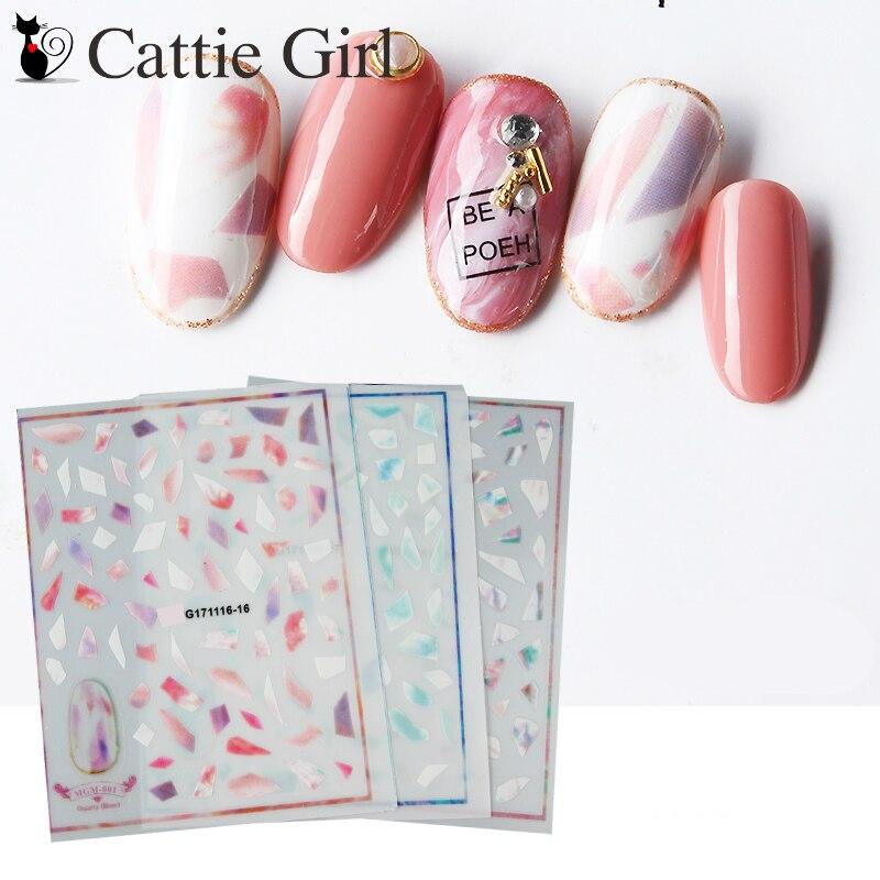 1 Sheet Marble Stone 3D Nail Art Transfer Stickers Black White Stone ...