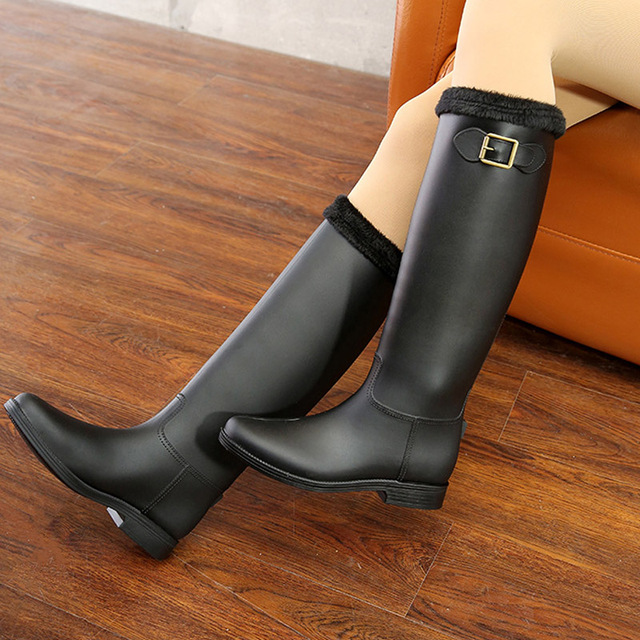Fashion new autumn and winter lady rain boots high tube women's warm water shoes waterproof rubber shoes new frosted rain boots