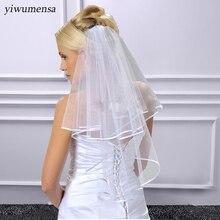 Двухслойная лента край короткая Фата с расческой белый/слоновой кости 2 слоя свадебная фата Свадебные аксессуары
