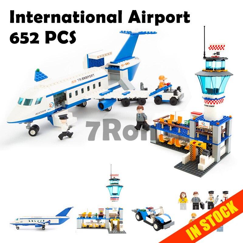 Modello di edificio giocattoli modellismo 8912 Blocchi Compatibile Con lego City International Airport 652 pz Educativi Mattoni FAI DA TE K