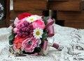 2017 Nueva Arival Baratos de La Boda/la Dama de honor Ramo de Novia Romántico Rosa Peonía Colorida Hecha A Mano Artificial Ramos