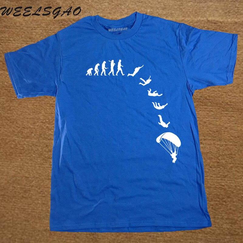 New Fashion Men T-shirt Go Skydiving Evolution Brand Clothing Casual funny print streetwear Short Sleeve t shirt