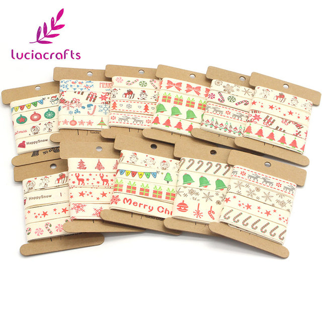 Lucia Crafts 5/8'' 15-16mm Christmas Cartoon Pattern Print Cotton Ribbons DIY Gift Packaging Handmade Accessories 040056129