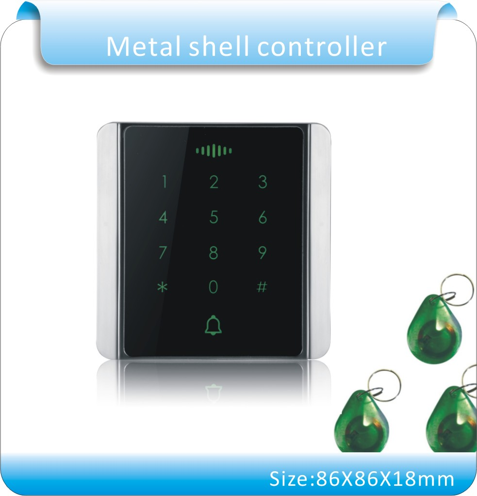 Newest  Metal shell touch Keypad Rfid Access Control ID/EM and Password  Keypad Access Controller with 10pcs Jade style keyfobs lpsecurity 125khz id em or 13 56mhz rfid metal door lock access controller with digital backlit keypad ip65 waterproof