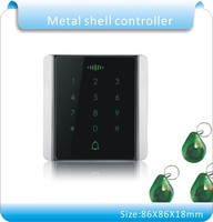 Newest Metal shell touch Keypad Rfid Access Control ID/EM and Password Keypad Access Controller with 10pcs Jade style keyfobs
