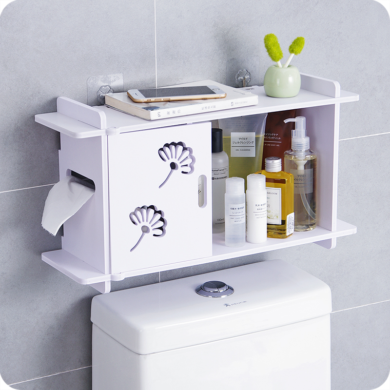 Free punch bathroom wall shelf toilet toilet storage rack bathroom waterproof roll paper wash rack  LO523259
