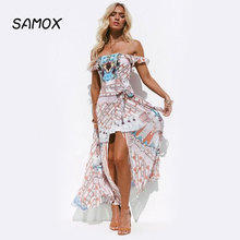 2019 New Summer Beach Dress Fashion Women Printing Off-the-shoulder Tube Top Slit Asymmetrical