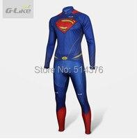Super Hero Superman Cycling Jersey Bib Pants Men Women Children Bike Bicycle Wear Long Cycling Clothing