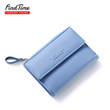 FINDTIME Small Women Zipper Wallet Female Fashion Lady Wallet Short Solid Color Change Purse Hot Female Clutch Carteras Female