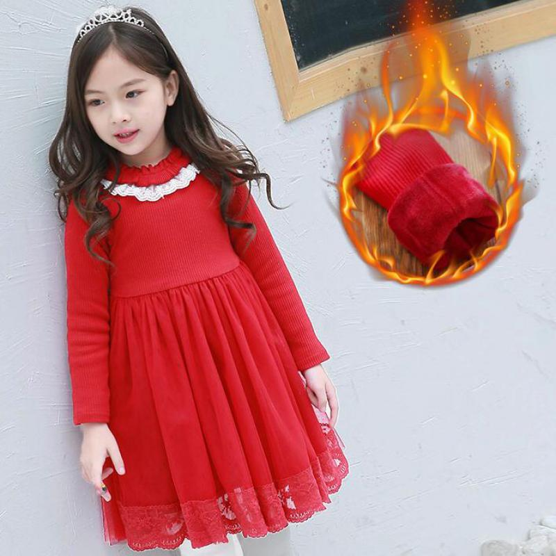 2018 Red Girls Lace Dress Velvet Autumn Winter Dress Girls Long Sleeve Children Clothing For Kids Clothes Birthday Party Dresses