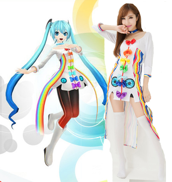 vocaloid hatsune miku rainbow dress cosplay halloween costume for women disfraces vestidos harajuku