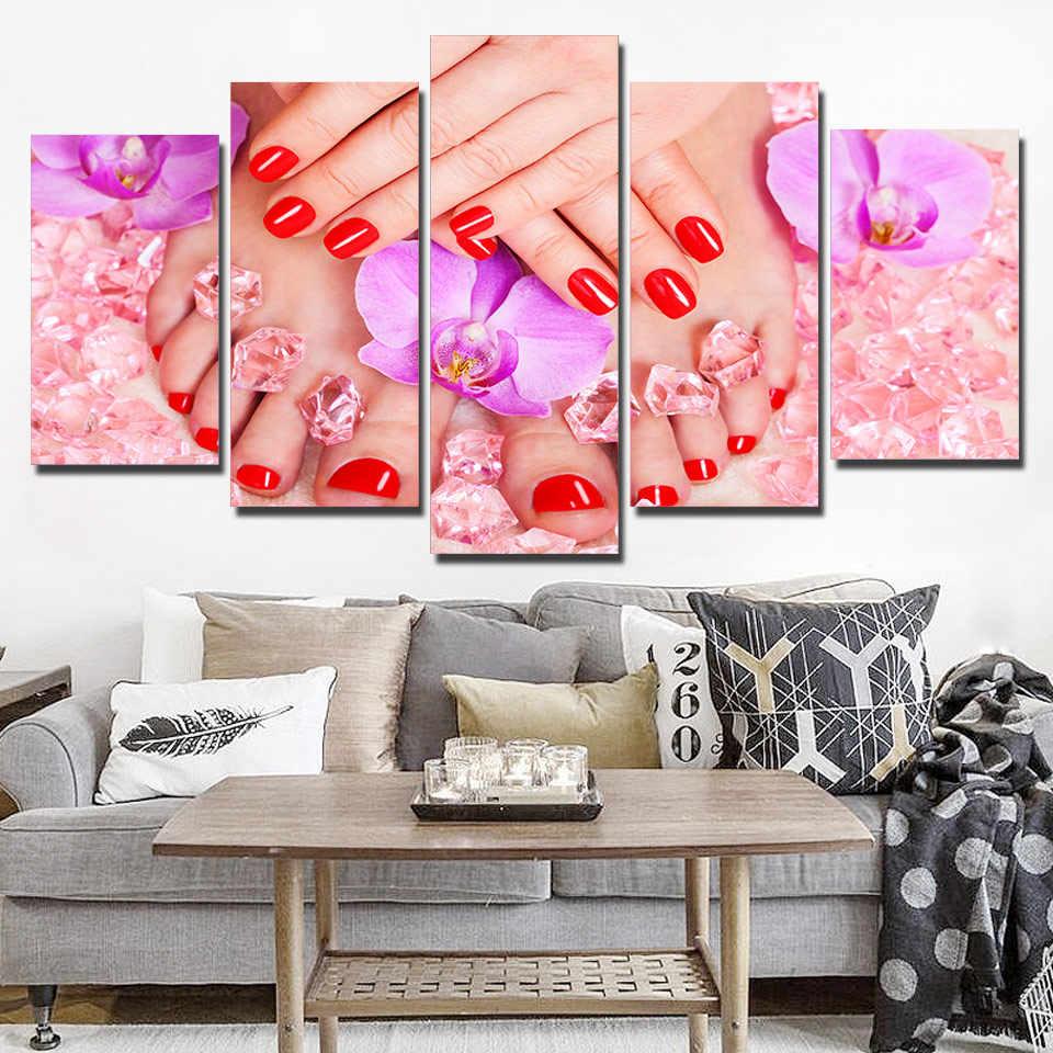 Canvas Print Poster Living Room Home Decor 5 Pieces Beauty Salon Painting Nail Sexy Woman Lip Manicure Pictures Modular Wall Art