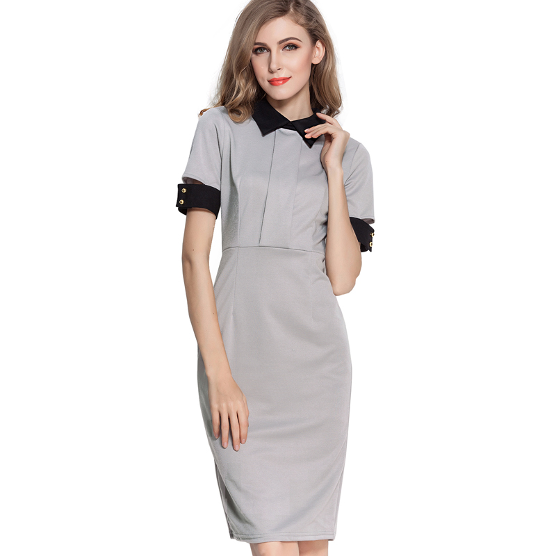 OUFANGMEIYI Store Vintage Hollow Out Cuff Turn-down Collar Back Full Zipper Business Dress Women Formal Sheath Bodycon Dresses Wear To Work 732