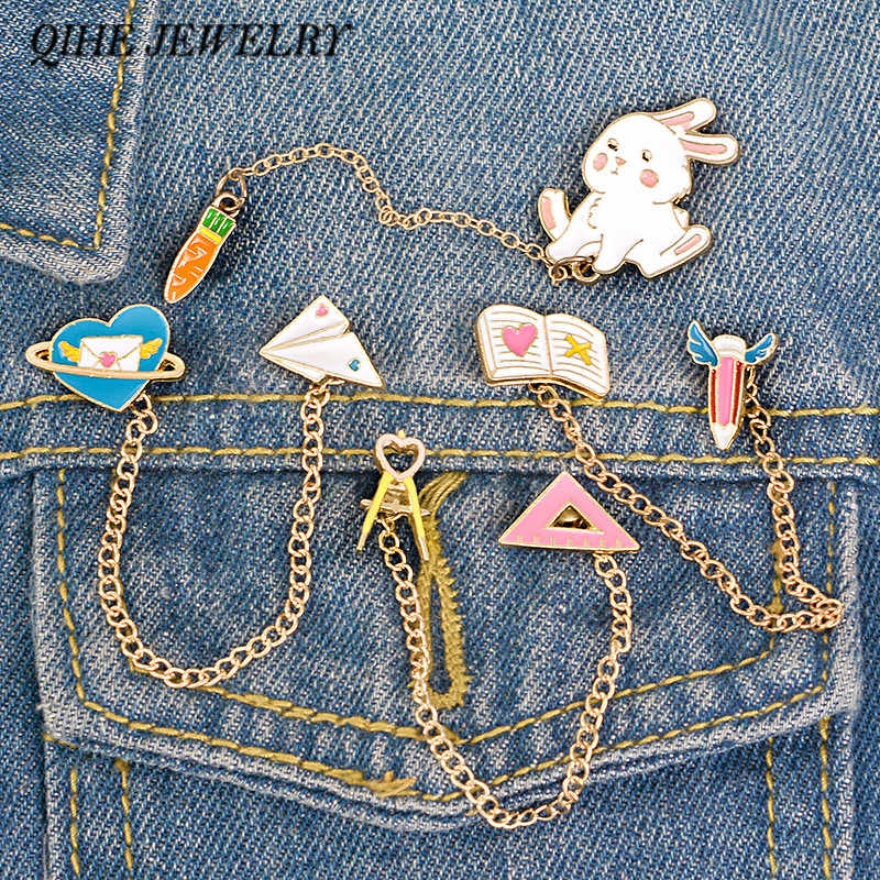 QIHE JEWELRY Cute Tassel Chain Linked Pins Bunny Rabbit Carrot Aircraft Planet Pencil Book Compasses Ruler Enamel Lapel Pins
