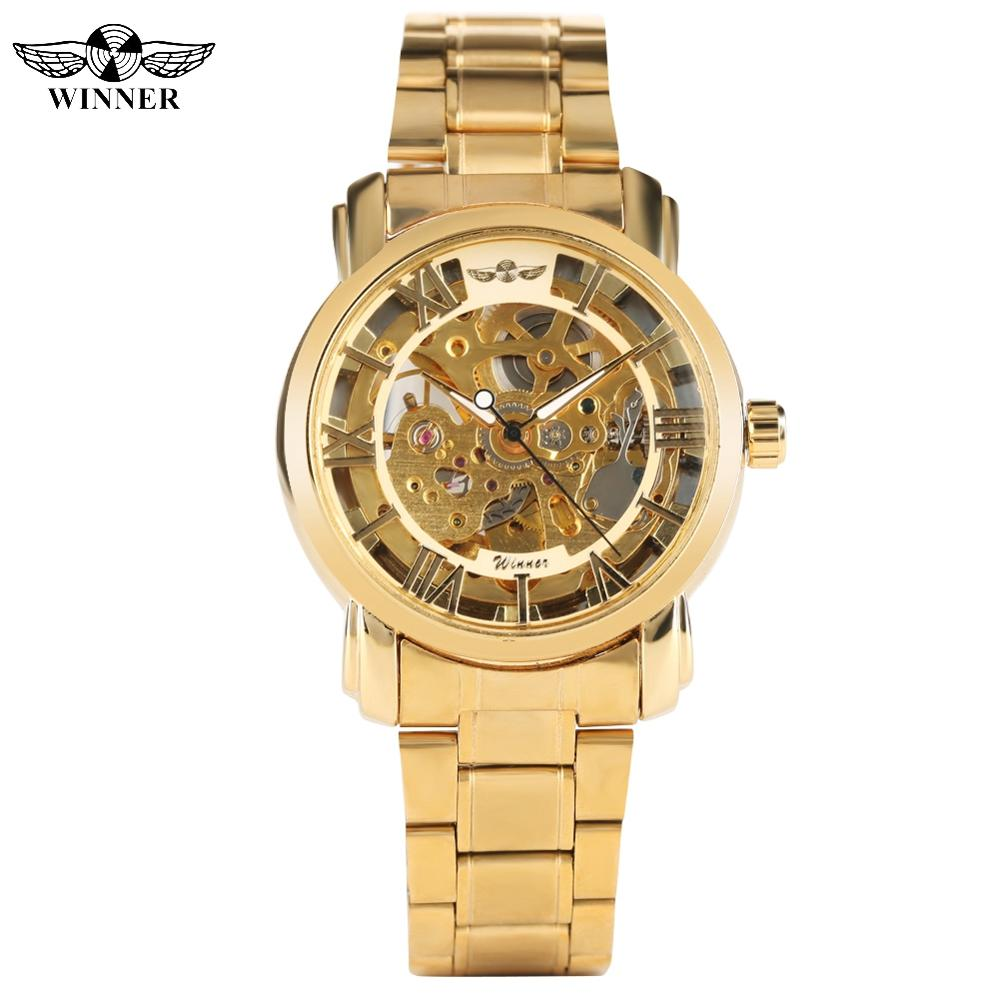 Vintage Men's Stain Steel Band Skeleton Transparent Automatic Mechanical Watches Fashion Gold Watch Gift for Teenagers Men