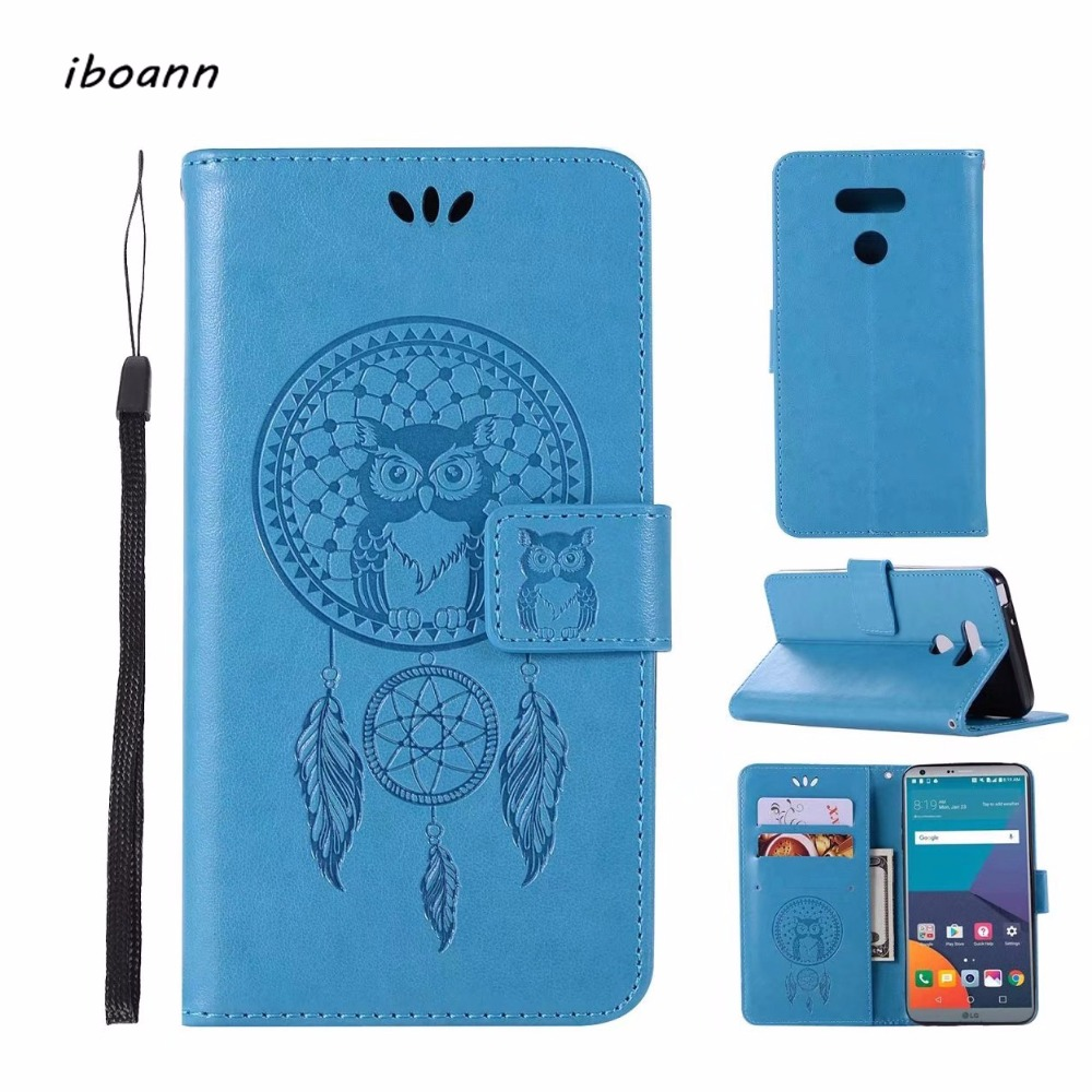 iboann dream catcher owl PU Leather stand Case for LG G6 Q6 K4 K5 K8 K10 2017 LV1 LV3 LV5 X style power stylo 2 3 cases cover