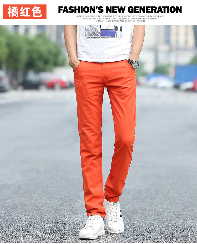 Business Casual Pants 11 Colors New Casual Pencil Pants Men Slim Pant Straight Trousers Solid Leisure Zipper Spring Summer k919 35