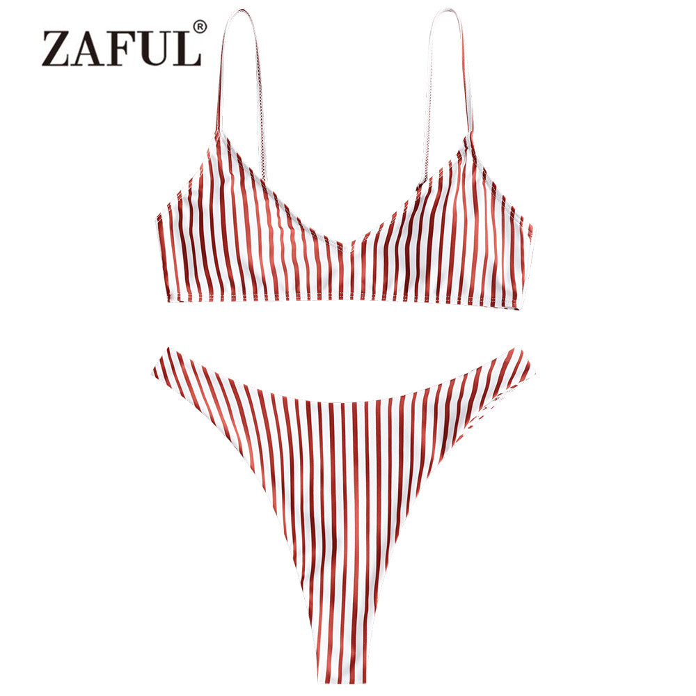 ZAFUL Bikini Women's Swimsuit High Cut Striped Thong Bikini Set Two Piece Swimwear Spaghetti Straps Padded Cami Swimming Suit sweet swan print spaghetti strap two piece swimsuit for women