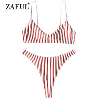ZAFUL Bikini Women's Swimsuit High Cut Striped Thong Bikini Set Two Piece Swimwear Spaghetti Straps Padded Cami Swimming Suit