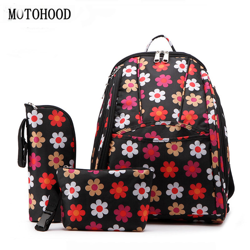 MOTOHOOD Canvas Floral Baby Diaper Bag Backpack Stroller Mummy Maternity Nappy Bag For Mom Mother Insulation Bag Organizer