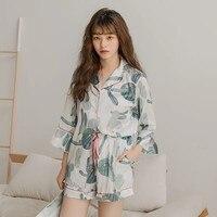 Ins Hot Summer Silk Womens Pajamas Nightly Sexy Lingerie Sleep Top Pijamas Home Suit Sweet Cactus Full Printing Ladies Pyjamas