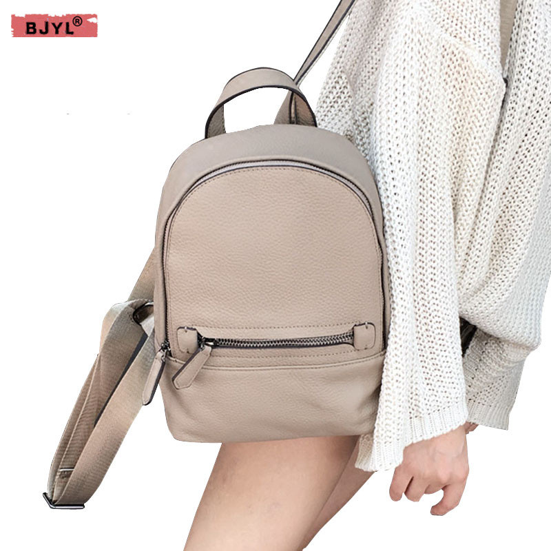 BJYL New Korean version of the leather Women shoulder bag wind cowhide backpack casual wild fashion simple fash female backpacks