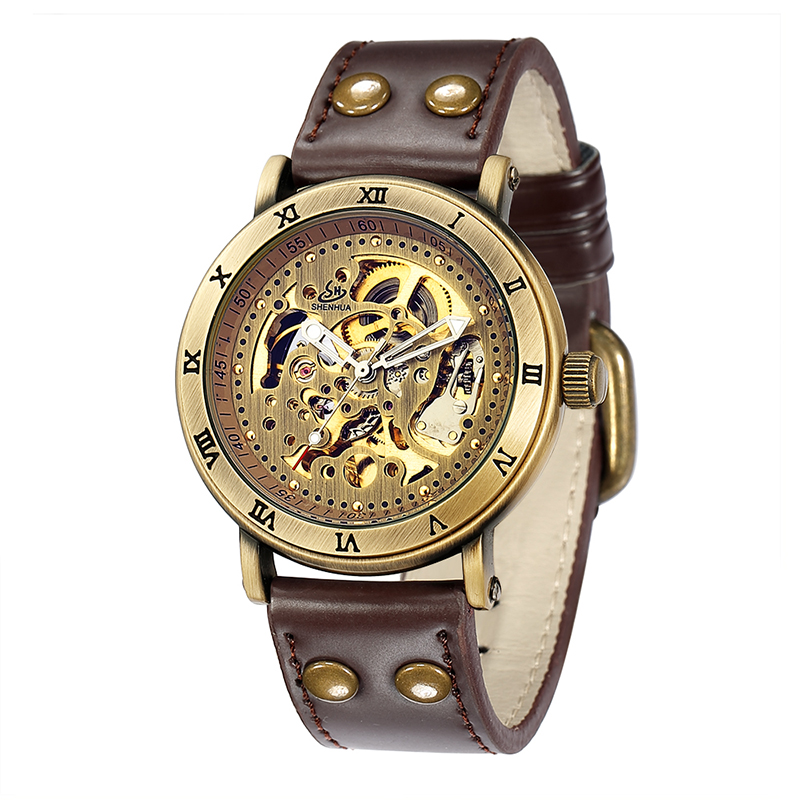 Retro Hollow Skeleton Automatic Mechanical Watches Men's Steampunk Bronze Leather Brand Unique Self-wind Mechanical Wristwatches retro hollow skeleton automatic mechanical watches men s steampunk bronze leather brand unique self wind mechanical wristwatches