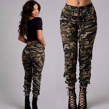 fa0d41099bc2 Новые женские Для женщин камуфляж брюки карго Повседневное Штаны с высокой  посадкой в стиле милитари армейские камуфляжные брюки.