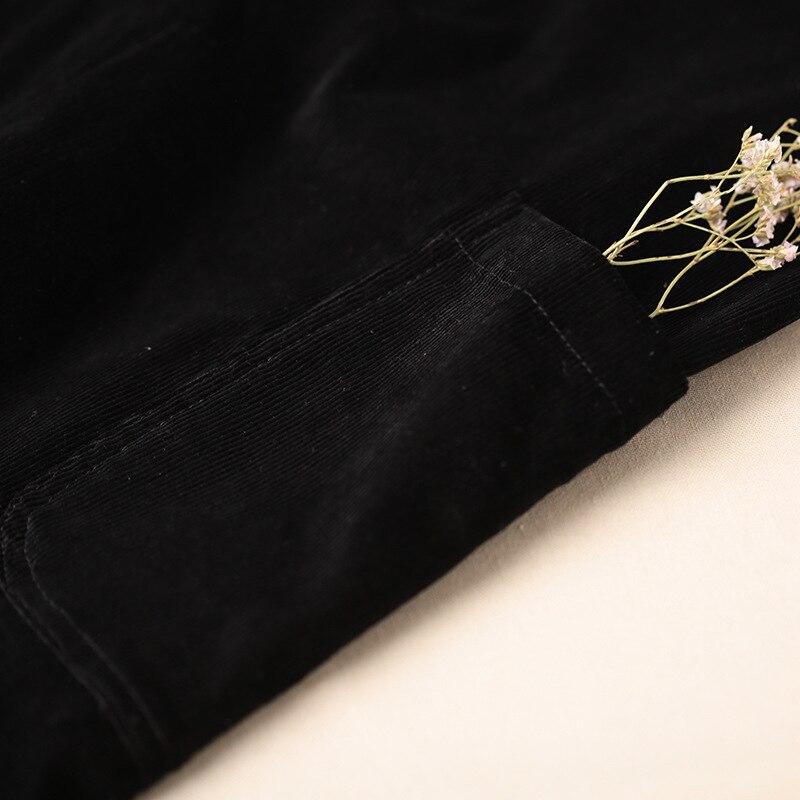 Coréen Style Preppy Robe En Velours Côtelé Avec Des chemises Femmes Automne Sangle Robe Longue grande taille décontracté Vintage robe X9160 - 3