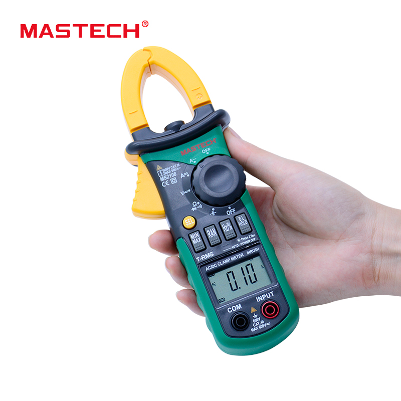 MASTECH MS2108 AC DC clamp meter T-RMS digital auto range multimeter Voltmeter Ammeter Capacitor Resistance tester mastech ms2108 t rms ac dc auto rg clamp meter tester max hold backlight inrush vs free shipping