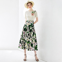Chic women High quality dresses suit 2019 sumemr  beading knitted T-shirts+ floral print skirts 2pieces set A553