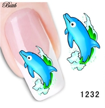 Bittb 2pcs Cartoon Blue Dolphin Nail Art Sticker Water Transfer Nail Stickers DIY Fingernail Decal French Manicure Accessories