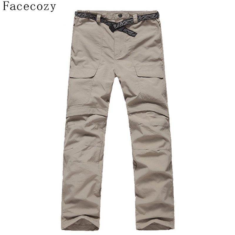 Facecozy New Men Summer Quick Drying Hiking Trekking Pants Male Removable Camping Pants Outdoor Ultra-thin Fishing Trousers