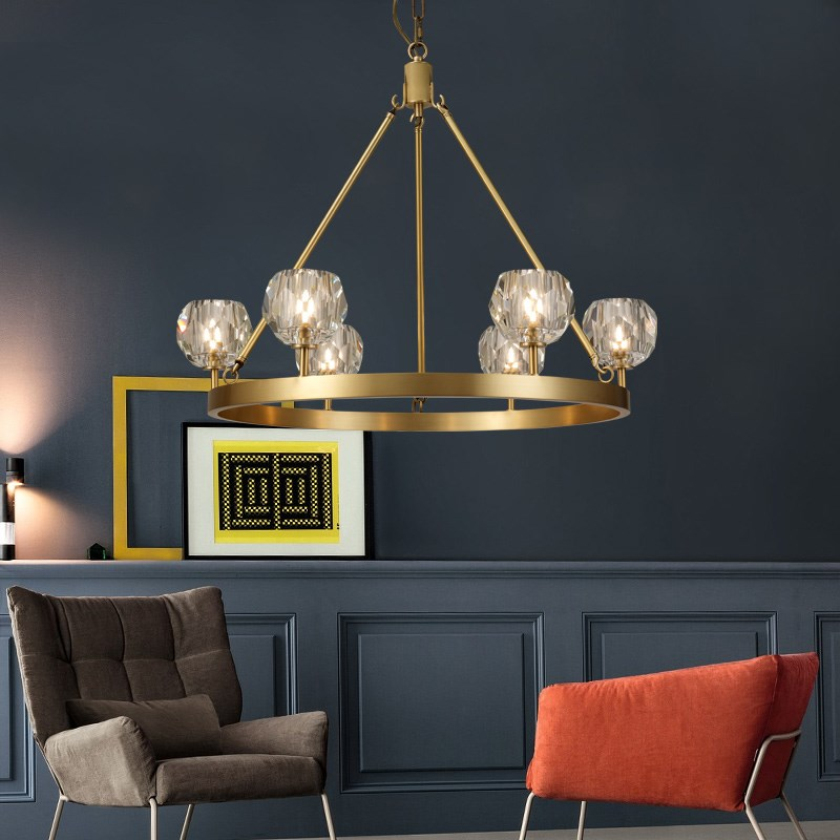 Modern crystal chandelier luxury American country living room bedroom decoration copper LED molecular light