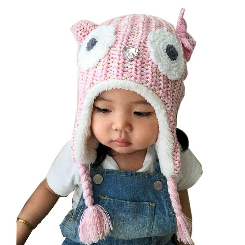 Niñas bebés Sombrero de Invierno Búho Rosado Caliente Con