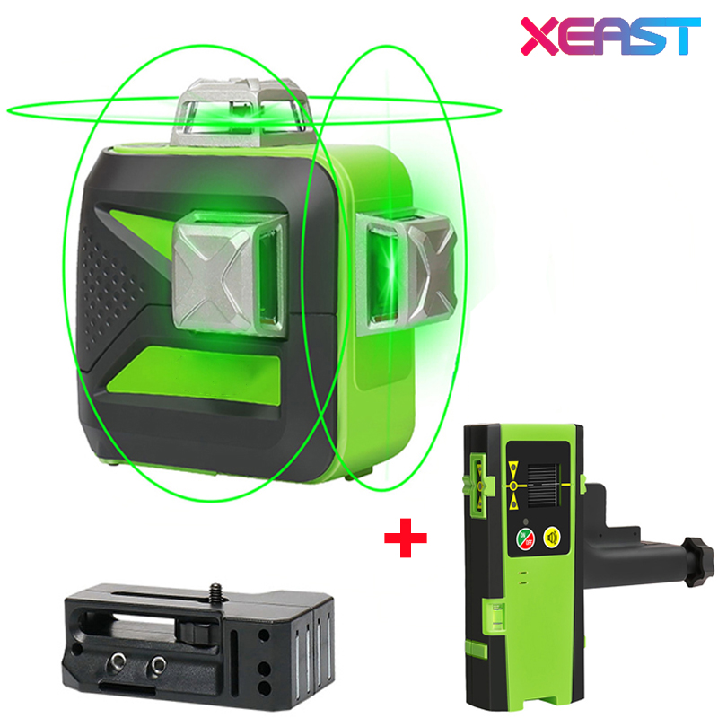 XEAST XE 93TG 12Lines 3D Green Laser Level Lithium Battery Self Leveling Horizontal Vertical Cross Lines