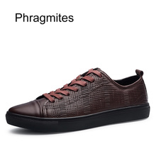 Phragmites High Quality  Leather Casual Shoes England Simple Designer Fashion Sneakers Men New Arrival Brand Shoe