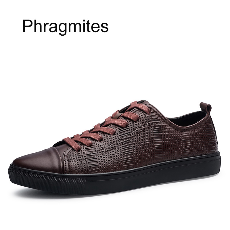 Phragmites high quality casual leather shoes England simple fashion sneakers men