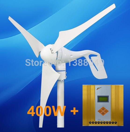 400W Wind Power Energy System Wind Turbine Generator With 600w MPPT Wind Solar Hybrid Controller on sale 400w 12 24vac 3 blades wind turbine generator with hybrid wind solar controller for 600w wind 600w solar