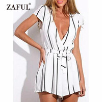 ZAFUL Beach Cover Ups Women Low Cut Striped Belted Romper Surplice Wide Leg Plunge Romper Striped Loose Summer Beach Romper