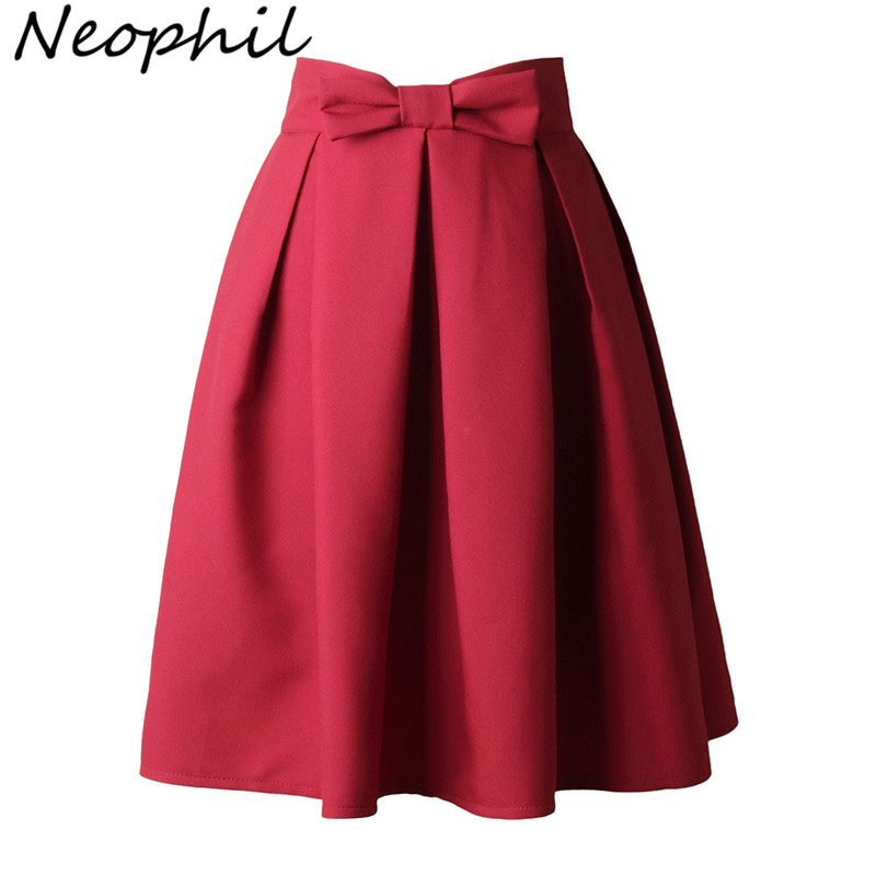 Neophi 2019 Causual Bow Pleated Women Skater Skirts Knee Length Summer High Waist Ladies Solid Black Ball Gown Saia S-XXL S8423