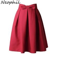 Neophi 2020 Causual קשת קפלים נשים סקטים חצאיות באורך הברך החורף גבוהה מותן גבירותיי מוצק שחור כדור שמלת Saia S XXL s8423
