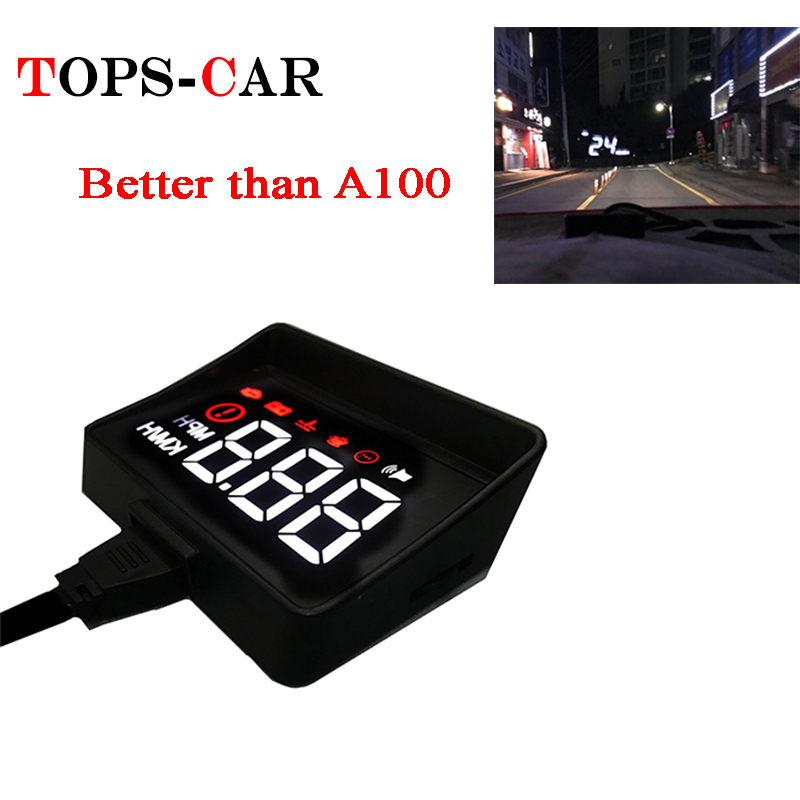 Latest A100S Automobile Hud Head-Up Show Obd2 Ii Euobd Overspeed Warning System Projector Windshield Auto Digital Voltage Alarm