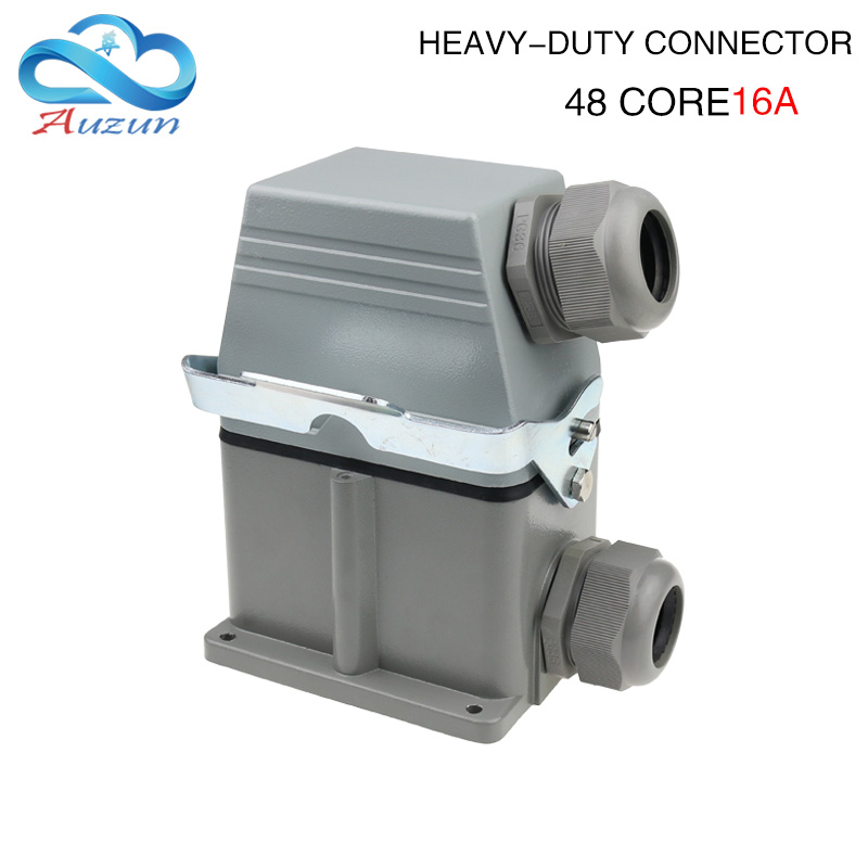 Hdc-he-048 heavy duty connector 16A rectangular 48-core high base industrial waterproof aviation plug socket купить в Москве 2019
